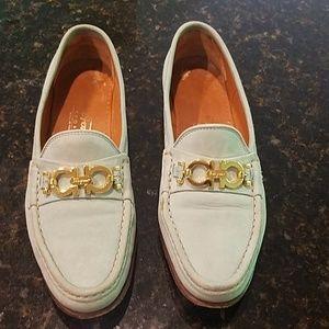 Vtg Ferragamo shoes 7.5 AA blue suede